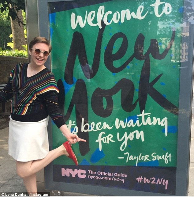 Lena Dunham in Red Patent Ops&Ops