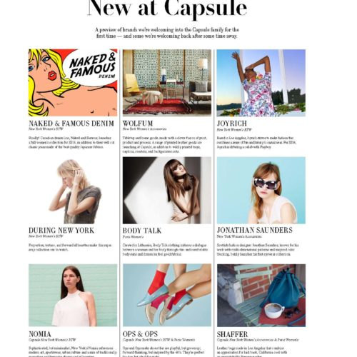Capsule New York  newspaper highlighting new brands, including Ops&Ops