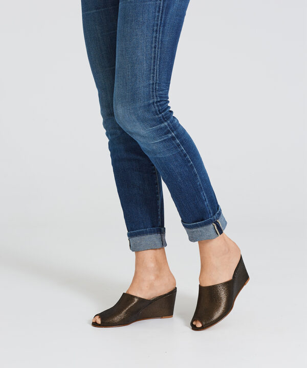 Ops&Ops No15 Black Granite wedges worn with mid-blue denim jeans with turn-ups