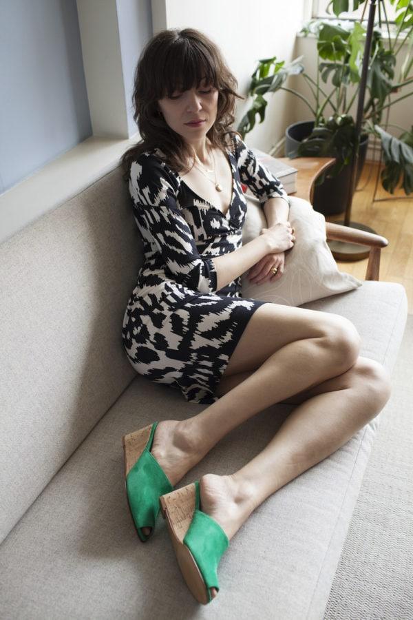 Ops&Ops No15 Mules Emerald suede with Cork heel lookbook