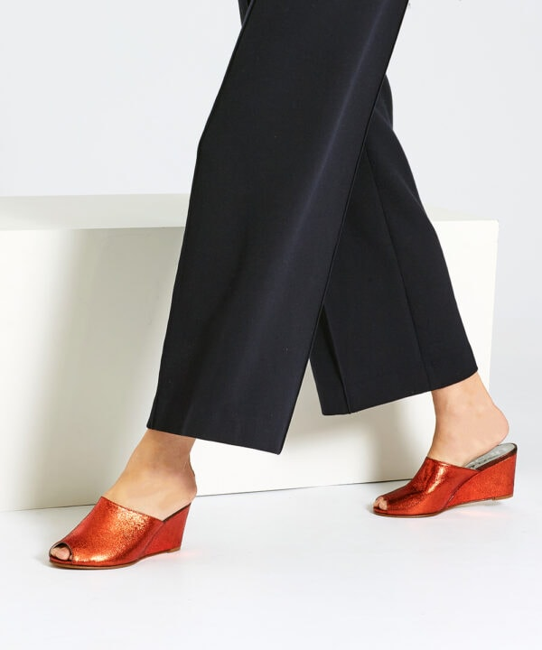 Ops&Ops No15 Flame wedges with navy wide-leg trousers
