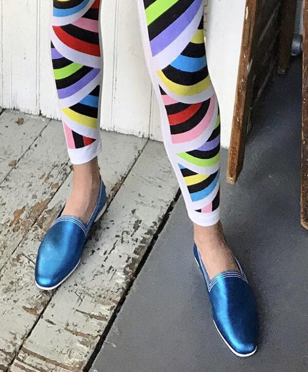 Ops&Ops No10 Metallic Turquoise Racer flats worn here with David David geo-pattern leggings