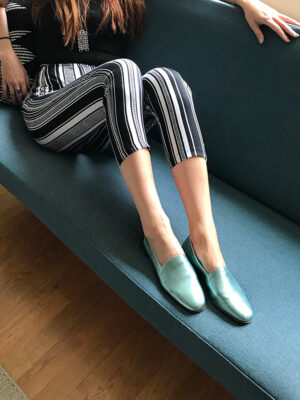 No10 Metallic Mint Green flats