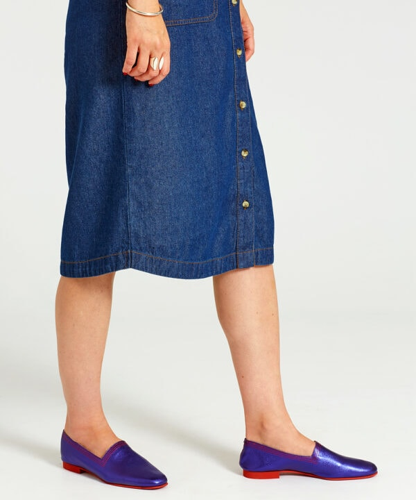 Ops&Ops No10 Purple Racer flats worn with button-through knee-length denim dress