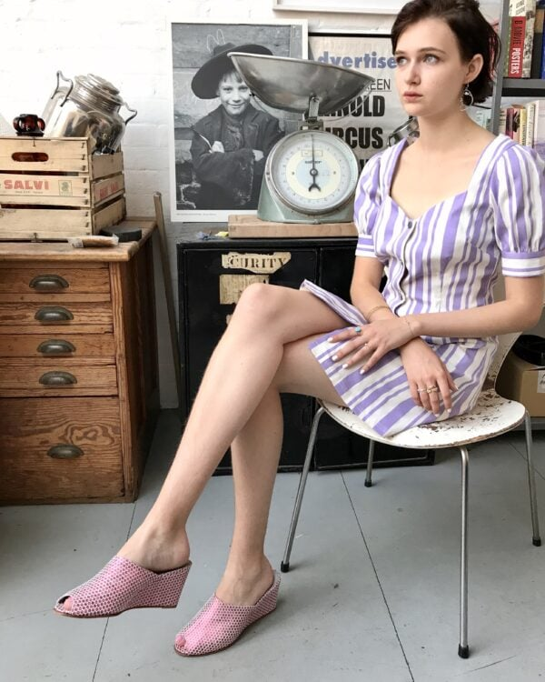 Ops&Ops No15 Pink Pois wedge mules worn with lilac striped summer dress