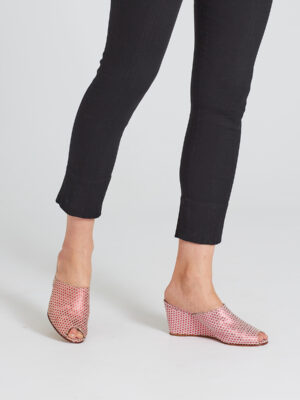 Ops&Ops No15 Pink Pois wedges worn with black capri pants