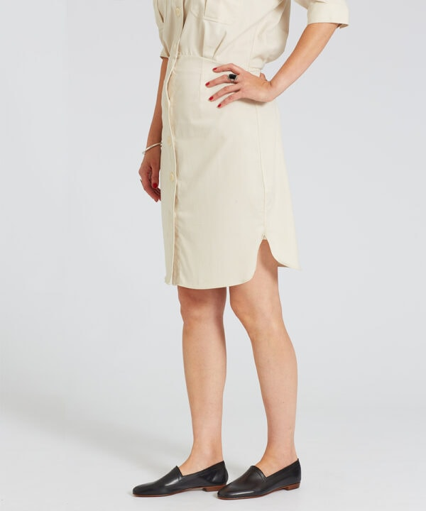 Ops&Ops No10 Classic Black flats worn with with ivory knee-length shirt-waister dress