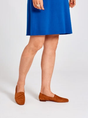 Ops&Ops No10 Toffee suede flats worn here with knee-length electric blue dress