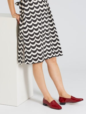 Ops&Ops No11 Crimson patent block heels with patterned knee-length dress