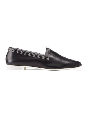 Ops&Ops No10 Classic Black Racer leather multi-stitch flats side view