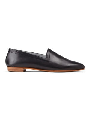Ops&Ops No10 Classic Black smooth leather flats side view