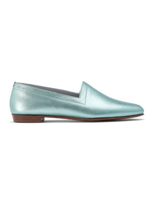 Ops&Ops No13 Metallic Mint leather flats side view