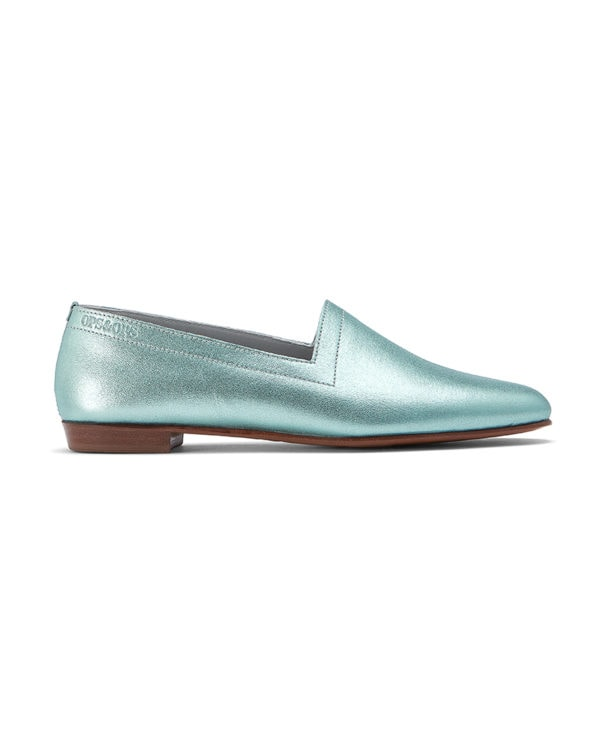 Ops&Ops No13 Metallic Mint leather slides side view