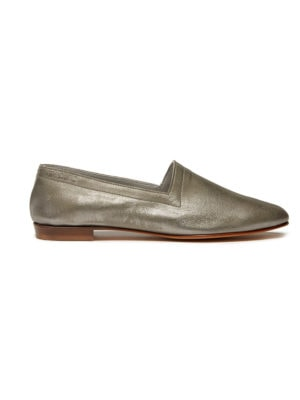 Ops&Ops No10 Nickel metallic leather flats side view