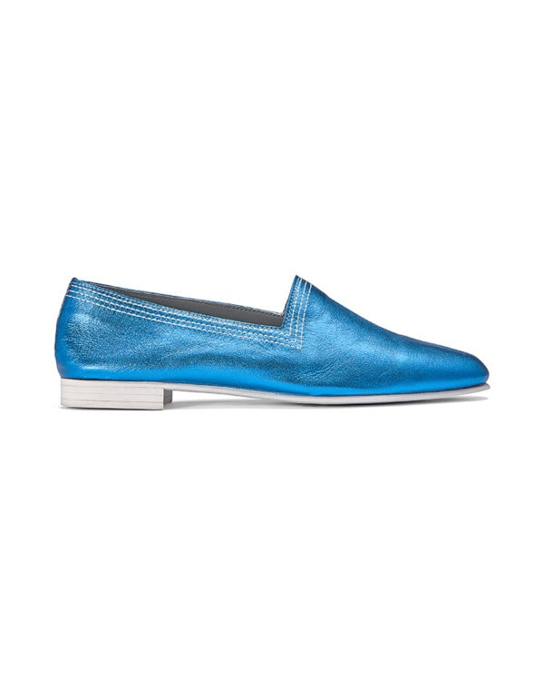 Ops&Ops No10 Metallic Turquoise Racer leather white multi-stitchflats side view