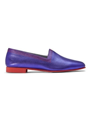 Ops&Ops No10 Metallic Purple Racer leather flats side view