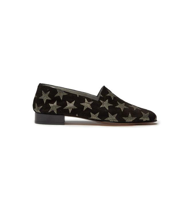 Ops&Ops No11 Spangled black suede block heels side view