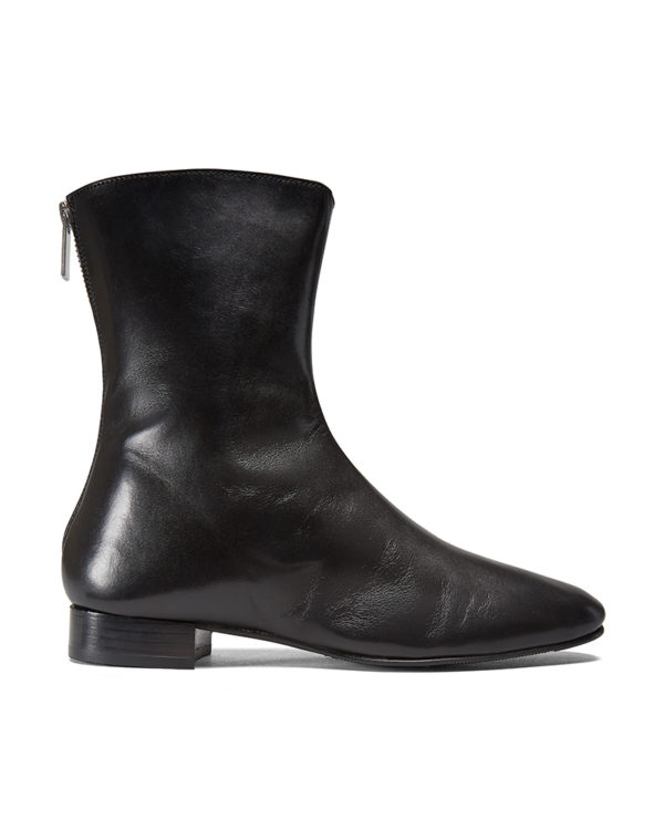 Ops&Ops No12 Classic Black leather boots with silver zipper side view