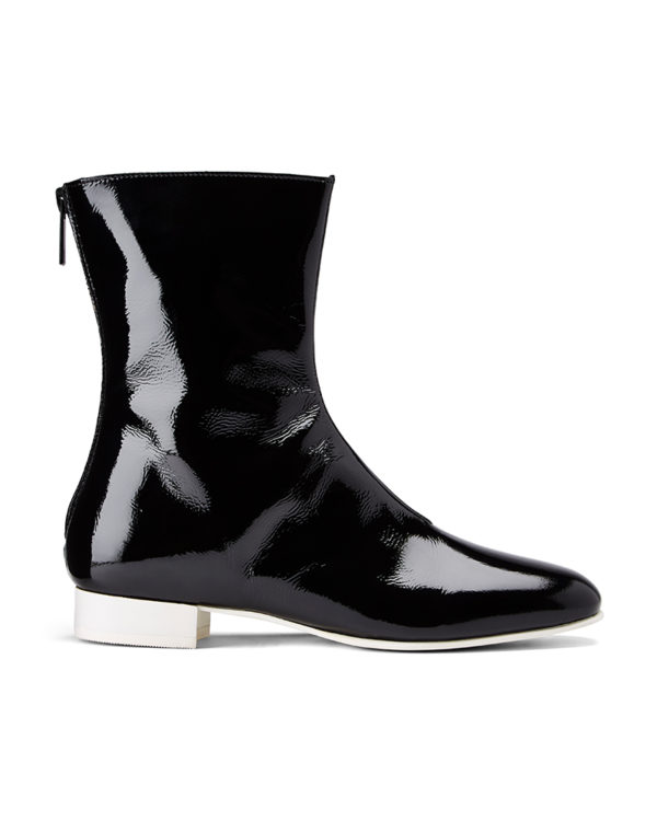 Ops&Ops No12 Liquorice leather boots with silver back zipper side view