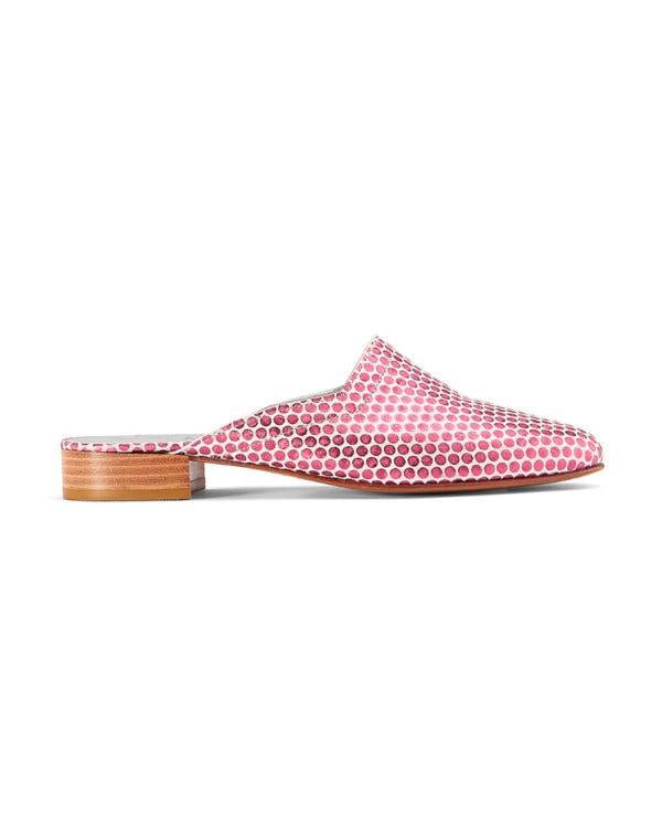 Ops&Ops No13 Pink Pois leather slides side view