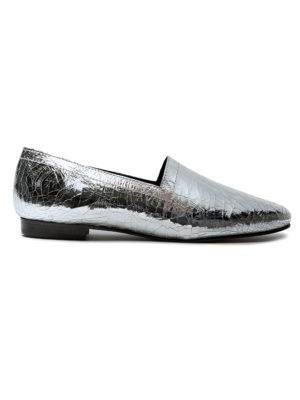 Ops&Ops No14 Silver Foil leather lined flats side view