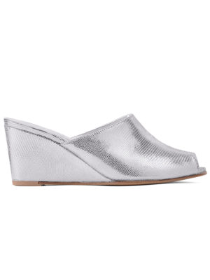 Ops&Ops No15 Chrome leather wedge mules side view