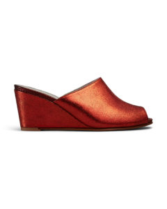 Ops&Ops No15 Flame red glitter leather mules side view