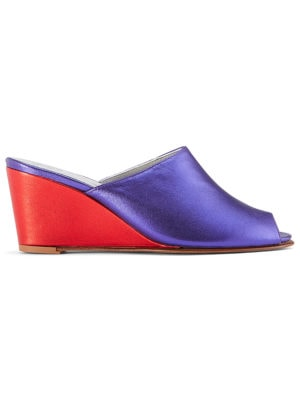 Ops&Ops No15 Metallic Purple and red leather mules side vie