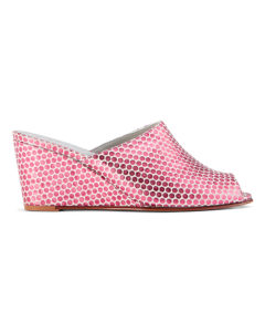 Ops&Ops No15 Pink Pois leather wedge mules side view