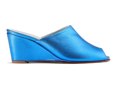 Ops&Ops No15 Metallic Turquoise leather wedge mules side view