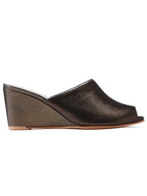 Ops&Ops No15 Black Granite leather wedge mules, side view