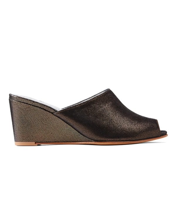 Ops&Ops No15 Mules Black Granite leather mules side view