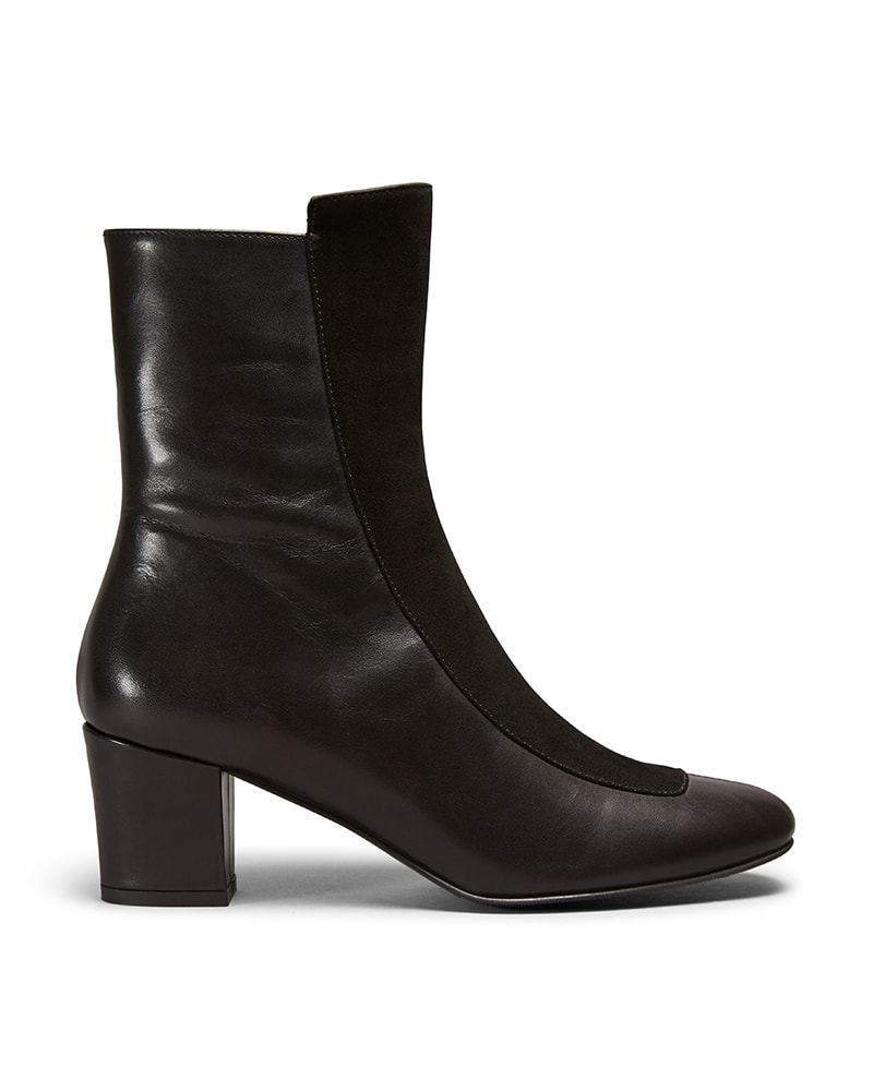 Ops&Ops No16 Black Duo leather and suede boots side view