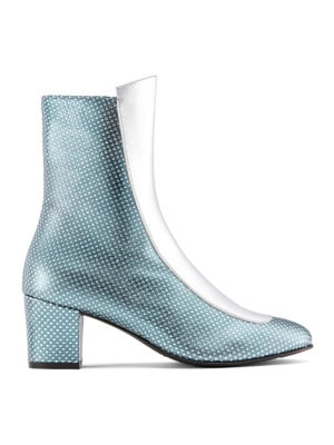 Ops&Ops No16 Silver Duo leather mid-heel boots side view