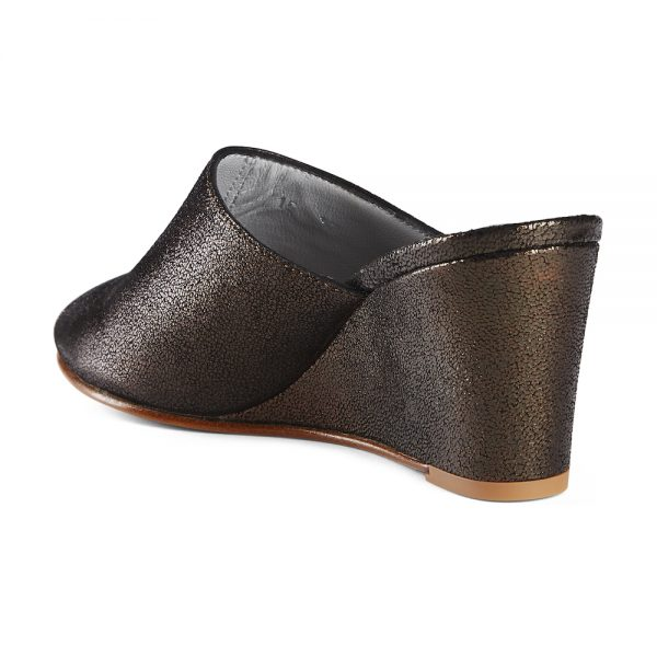 Ops&Ops No15 Black Granite leather wedge mules back view