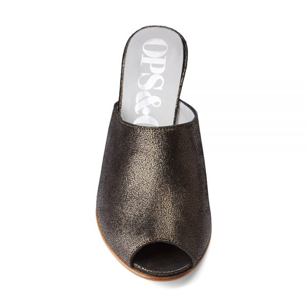 Ops&Ops No15 Black Granite leather mules front view