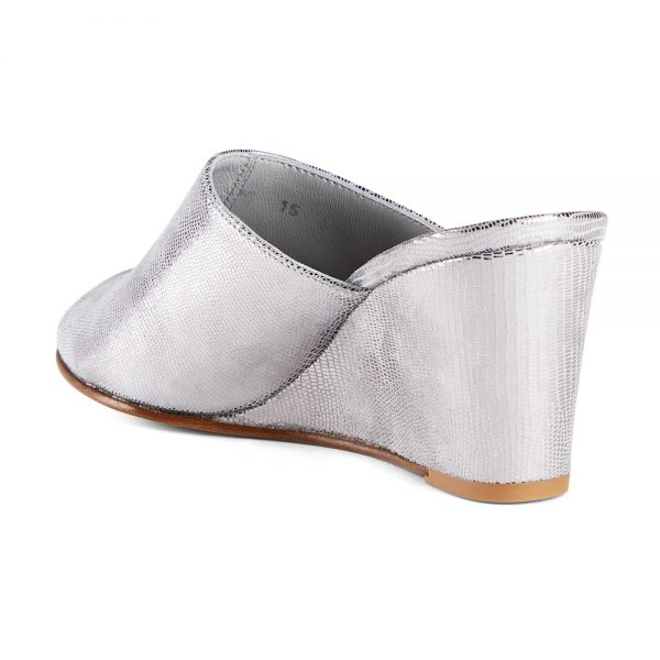 Ops&Ops No15 Chrome leather wedge mules back view