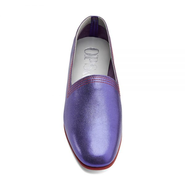 Ops&Ops No10 Metallic Purple Racer leather multi-stitch flats with red multi-stitch and synthetic sole front view