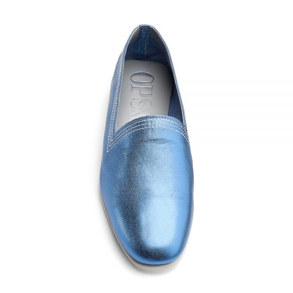 Ops&Ops No10 Metallic Turquoise Racer leather multi-stitch flats white synthetic sole front view