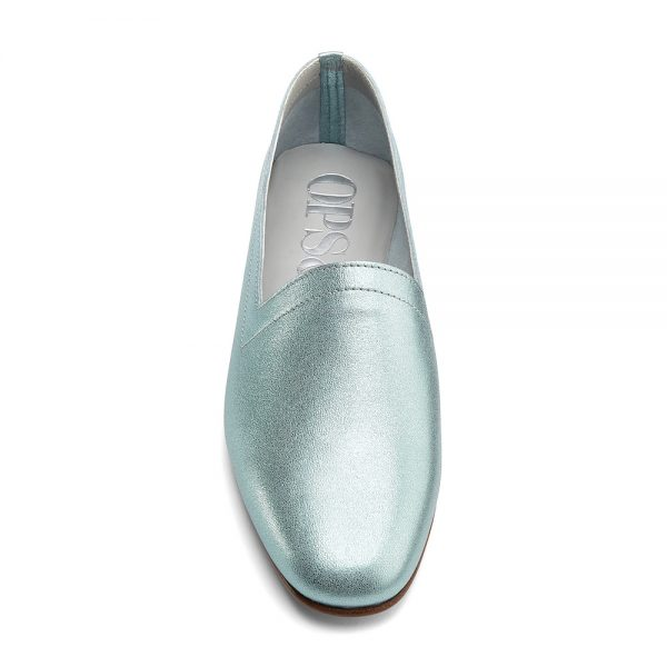 Ops&Ops No10 Metallic Mint leather flats with natural sole and heel front view