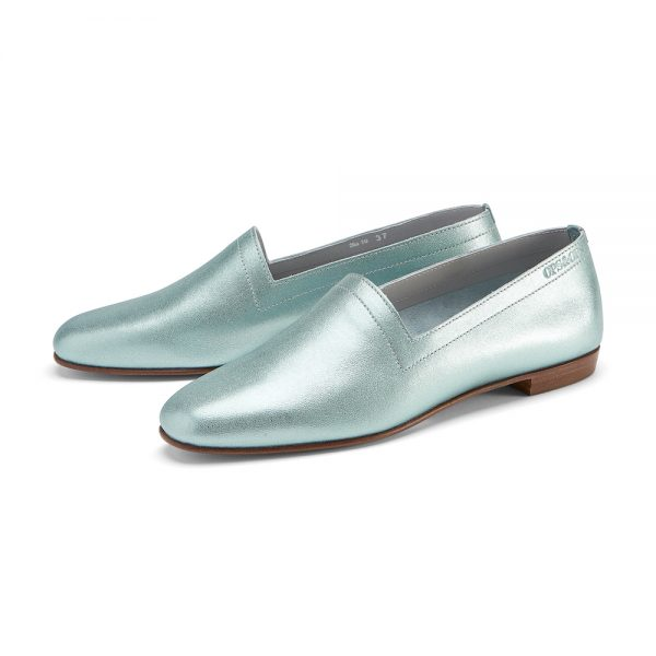 Ops&Ops No10 Metallic Mint leather flats with natural sole and heel pair