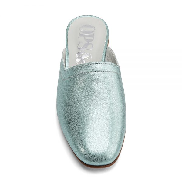 Ops&Ops No13 Metallic Mint leather slides pair with natural sole and heelfront view