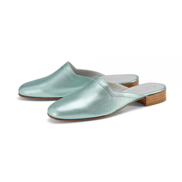 Ops&Ops No13 Metallic Mint leather slides pair