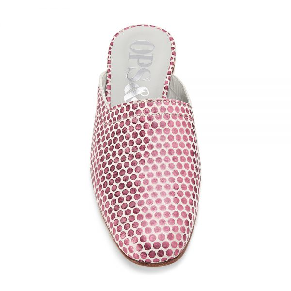 Ops&Ops No13 Pink Pois metallic leather slides with natural sole and heel front view