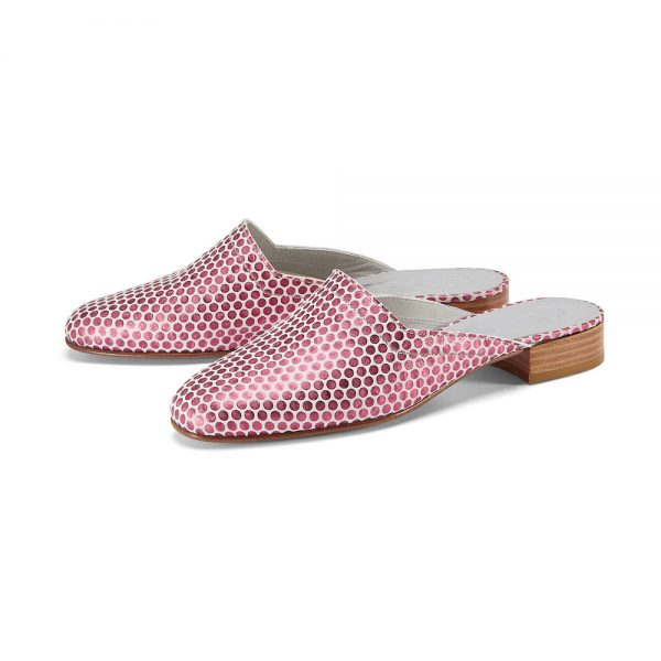 Ops&Ops No13 Pink Pois metallic leather slides with natural sole and heelpair