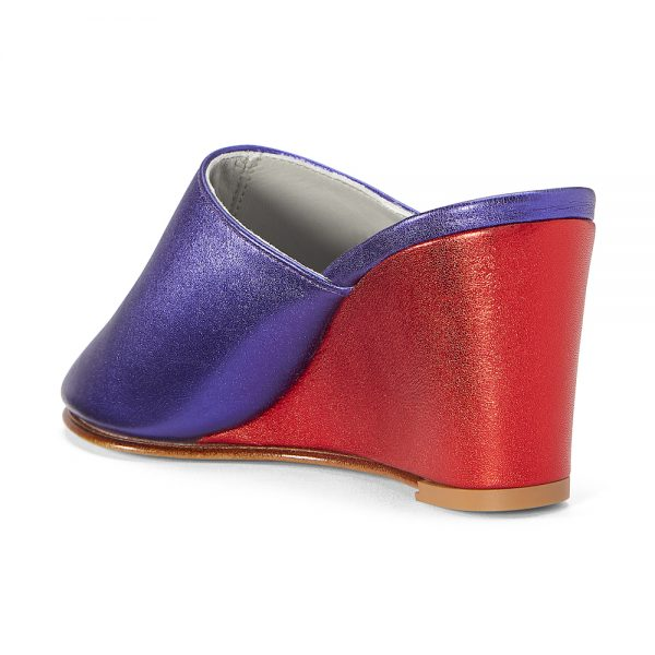 Ops&Ops No15 Metallic Purple with Metallic Red leather wedge mules back view