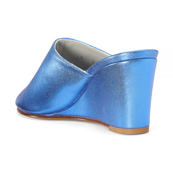 Ops&Ops No15 Metallic Turquoise leather wedge mules front view