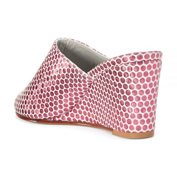 Ops&Ops No15 Pink Pois metallic leather wedge mules back viewback view