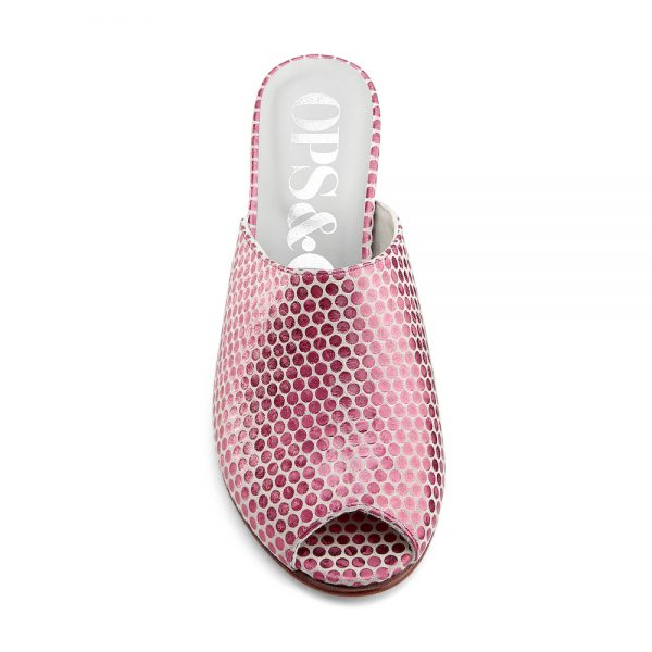 Ops&Ops No15 Pink Pois metallic leather wedge mules front view
