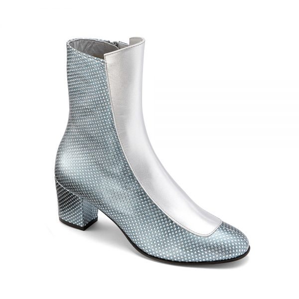 Ops&Ops No16 Silver Duo metallic leather block-heel boots: blue and silver angle view